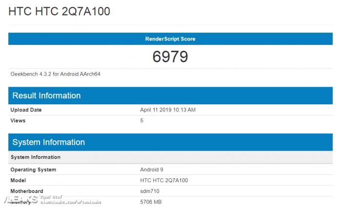 Результат тестирования HTC 2Q7A100 в Geekbench