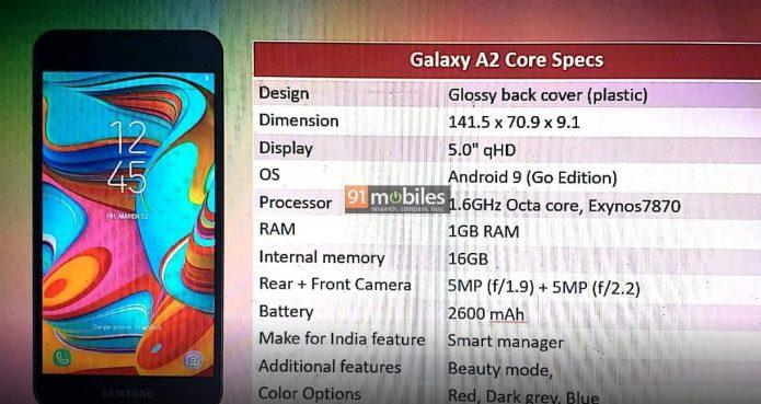 Характеристики Samsung Galaxy A2 Core
