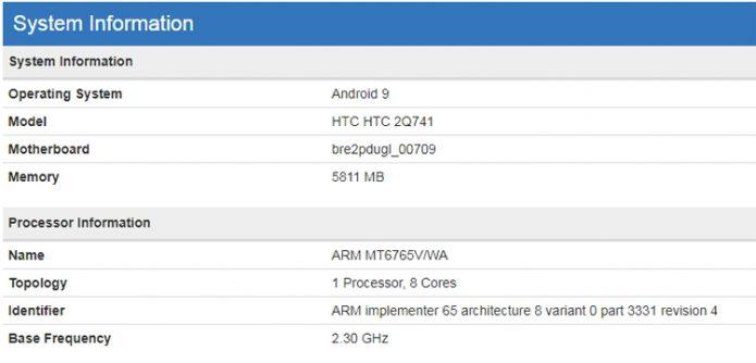 Информация о HTC 2Q741 из базы данных Geekbench