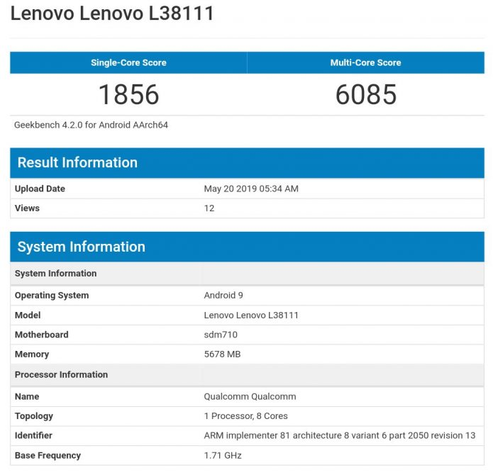 Результаты тестирования Lenovo Z6 Youth Edition в Geekbench