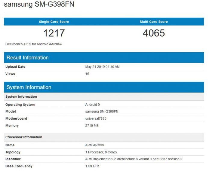 Результаты тестирования Samsung Galaxy Xcover 5 в Geekbench
