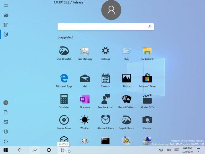 Новое меню «Пуск» в Windows 10