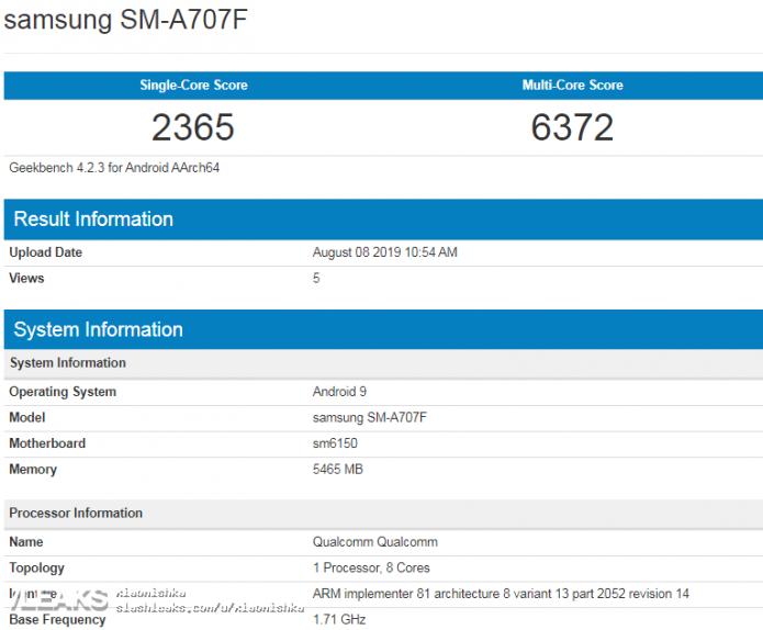Результаты тестирования Samsung Galaxy A70s в Geekbench