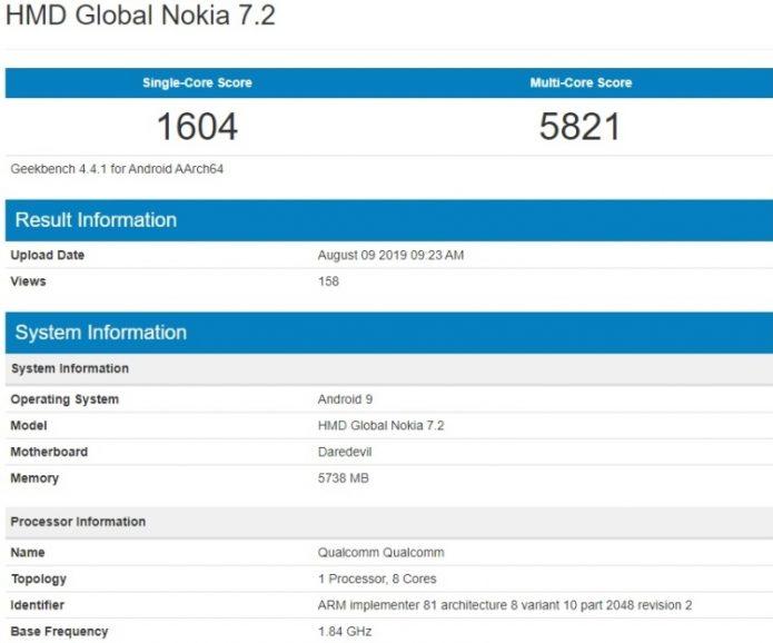 Результаты тестирования Nokia 7.2 в Geekbench