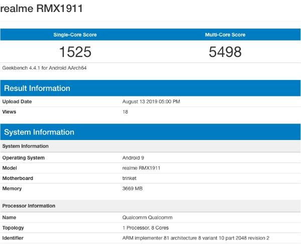 Результаты тестирования Realme 5 в Geekbench
