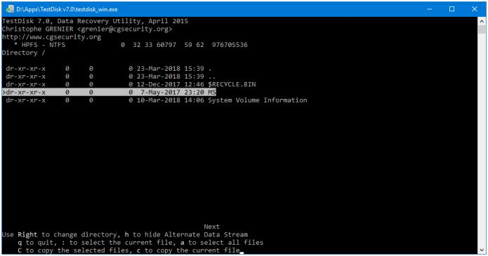 Отображение параметров выбранных файлов