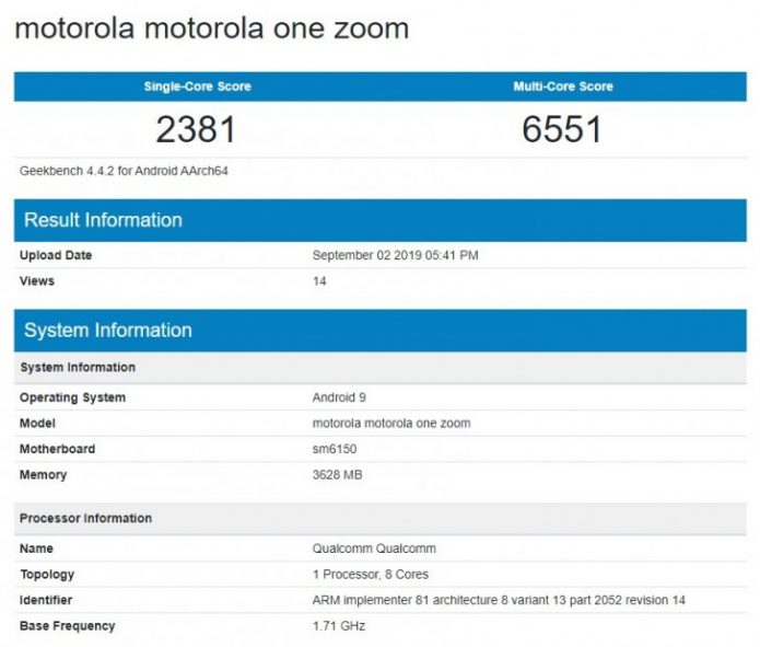 Результаты тестирования Motorola One Zoom в Geekbench