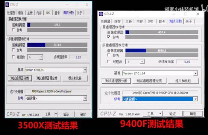 Результаты тестирования AMD Ryzen 5 3500X в CPU-Z в сравнении с Intel Core i5–9400F